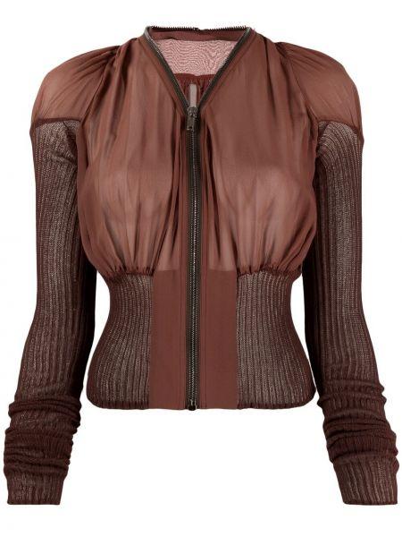 Brązowa długa kurtka bawełniana z długimi rękawami Rick Owens