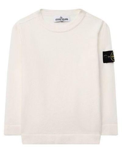 С рукавами хлопковый белый свитер Stone Island
