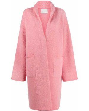 Розовое шерстяное пальто с капюшоном Laneus
