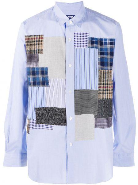 Синяя классическая рубашка с воротником пэчворк на пуговицах Junya Watanabe Man