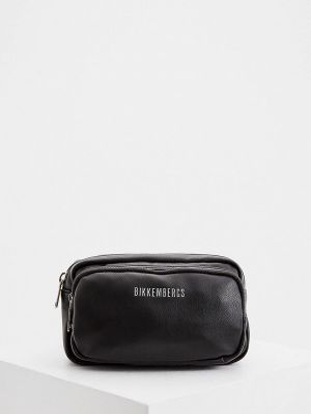 Поясная сумка кожаная черная Bikkembergs