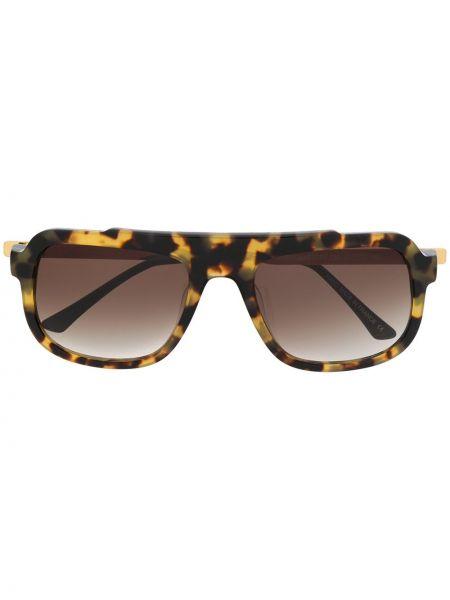 Коричневые солнцезащитные очки квадратные металлические Thierry Lasry