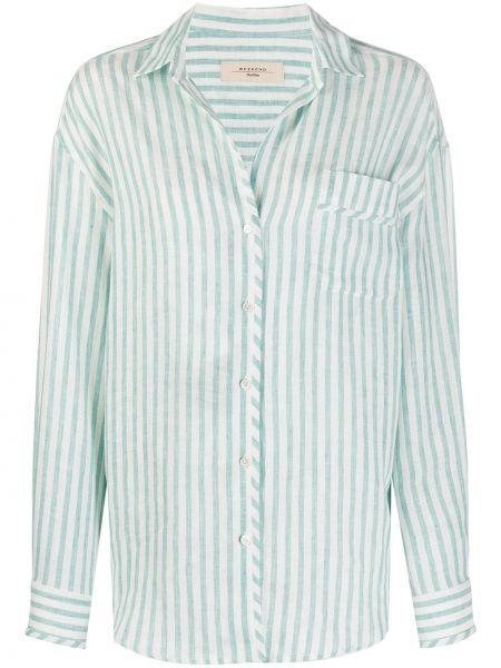 Zielona klasyczna koszula w paski z długimi rękawami Weekend Max Mara