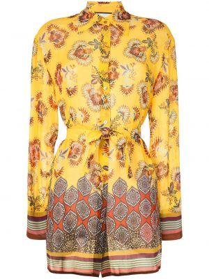Желтая блузка с воротником из вискозы Alexis