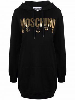Черное платье в рубчик Moschino