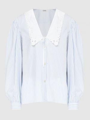 Рубашка в полоску - голубая Miu Miu