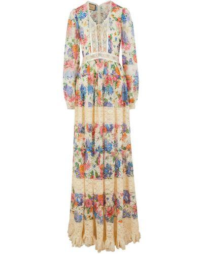 Кружевное бежевое платье макси Gucci