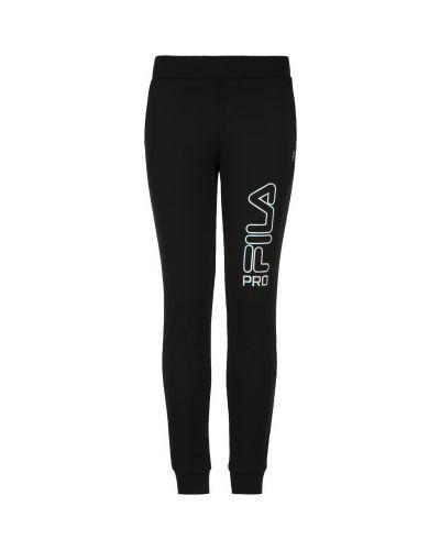 Компрессионные зауженные спортивные черные брюки Fila