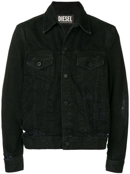 Джинсовая куртка черная укороченная Diesel