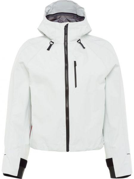 Белая куртка с капюшоном на молнии с воротником с рукавом реглан Prada