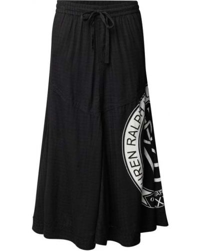 Długa spódnica z wiskozy - czarna Lauren Ralph Lauren