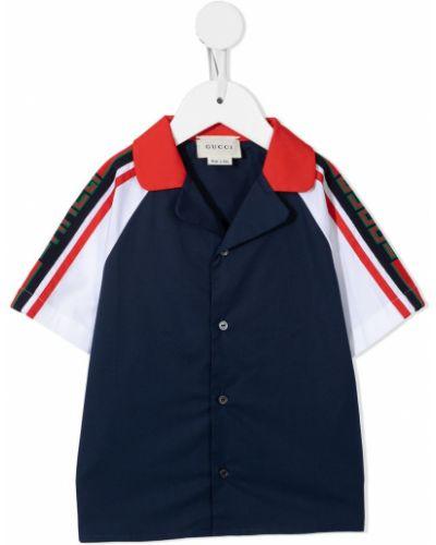 Niebieska koszula z printem Gucci Kids