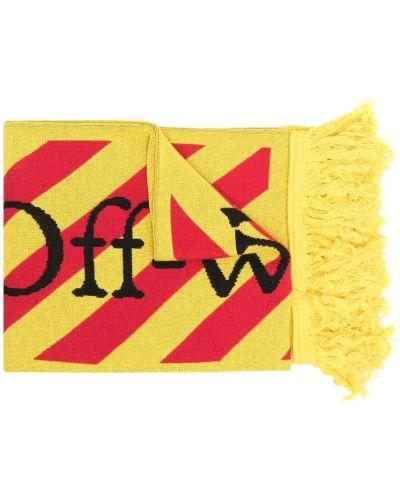 Żółty szalik wełniany z haftem Off-white