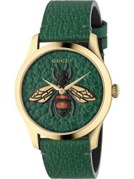 С ремешком зеленые кожаные часы на кожаном ремешке Gucci