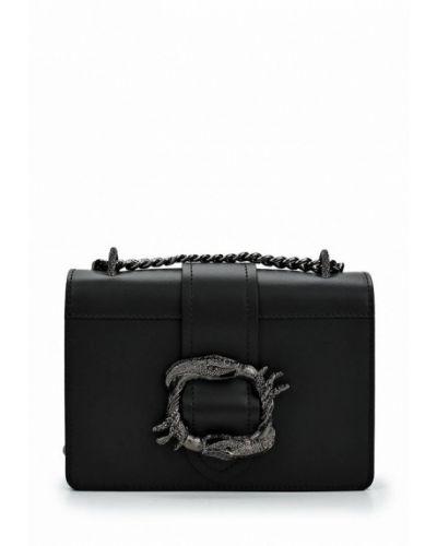 Кожаная сумка через плечо черная Nano De La Rosa
