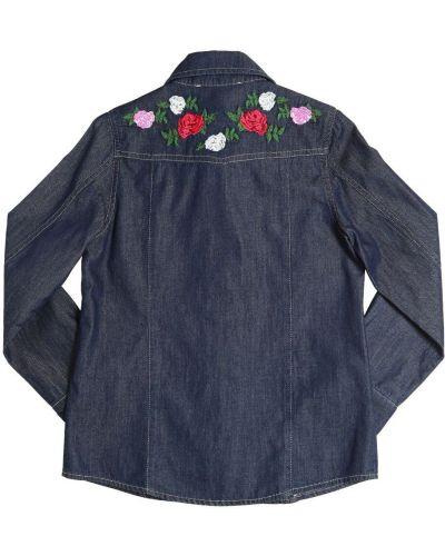 Джинсовая рубашка с вышивкой на кнопках Miss Blumarine