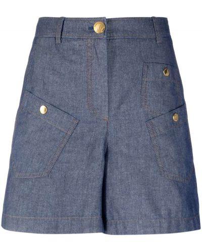 Хлопковые с завышенной талией джинсовые шорты с карманами Boutique Moschino