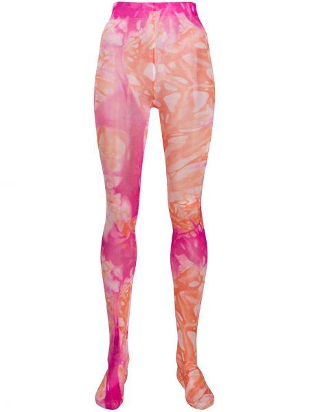 Колготки розовый с принтом Versace
