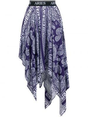 Niebieski asymetryczny spódnica z wiskozy Aries