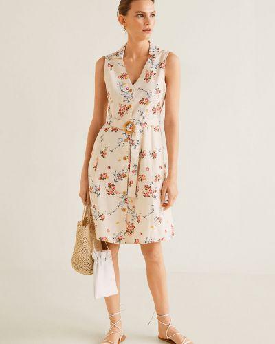 Платье с поясом сафари с карманами Mango