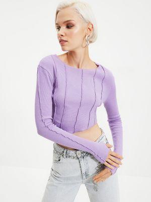 Bluzka asymetryczna - liliowa Trendyol