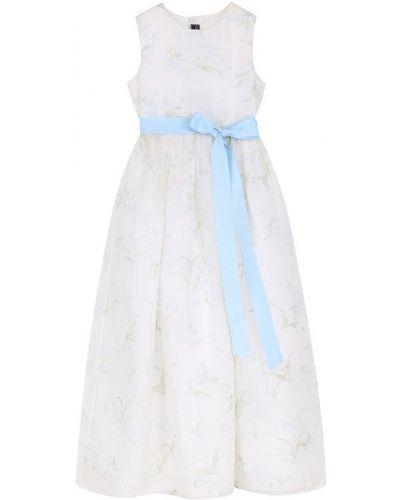 Платье макси на пуговицах из органзы Oscar De La Renta