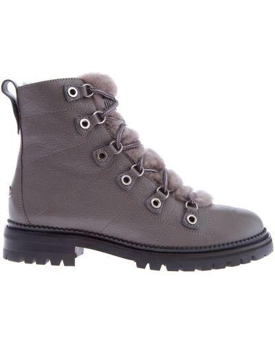 Ботинки на шнуровке кожаные с мехом Jimmy Choo