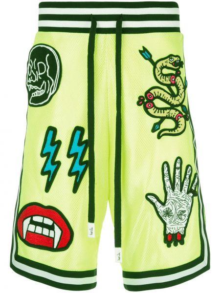 Zielone krótkie szorty z haftem do koszykówki Haculla