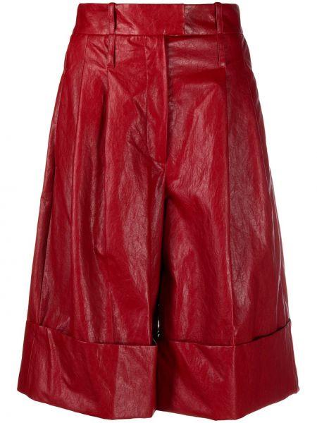 Хлопковые красные шорты с отворотом Jejia