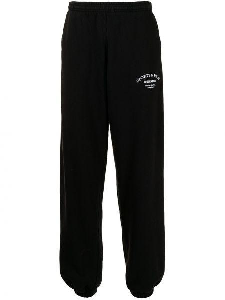 Хлопковые черные брюки с накладными карманами Sporty And Rich