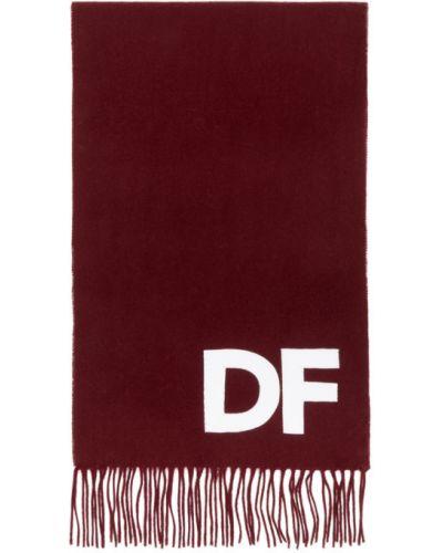 Wełniany biały szalik prostokątny z łatami Daniel W. Fletcher
