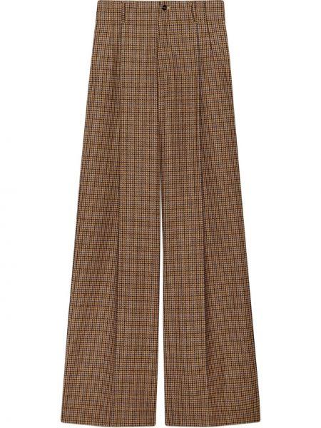 Brązowy wełniany szerokie spodnie z paskiem bezpłatne cięcie Gucci
