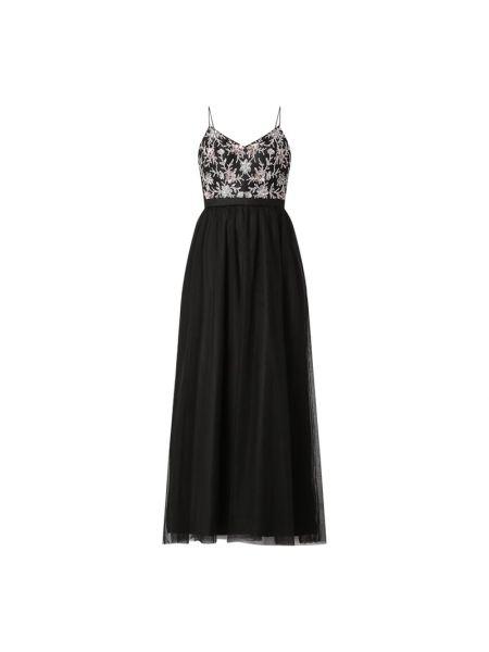Czarna sukienka wieczorowa rozkloszowana z cekinami Laona