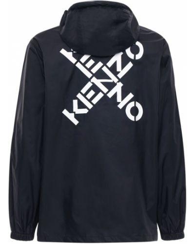 Nylon czarny wiatrówka na gumce z mankietami Kenzo