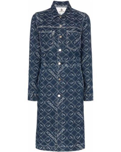 Синее пальто классическое с воротником на пуговицах с капюшоном Jordache