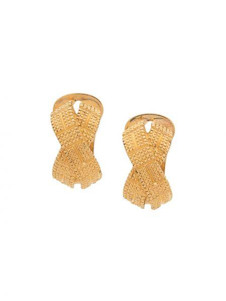 Kolczyki ze sztyftem złoto pozłacany z ozdobnym wykończeniem metal Christian Dior