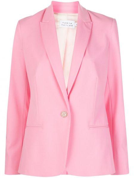 Розовая куртка с манжетами на пуговицах с карманами Tanya Taylor