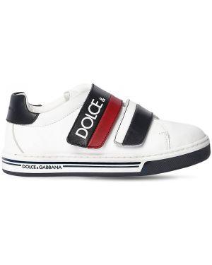 Белые кожаные кроссовки на липучках Dolce & Gabbana
