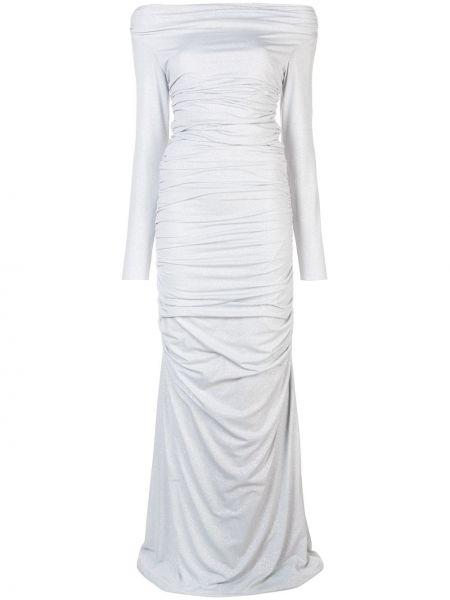 Вечернее платье со складками с открытыми плечами Rhea Costa