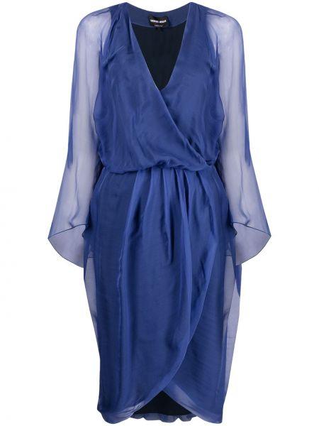 Шелковое синее платье макси с запахом Giorgio Armani