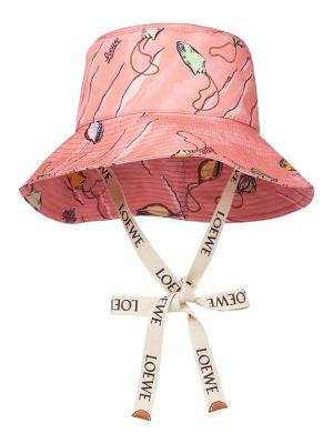 Różowy kapelusz bawełniany Loewe