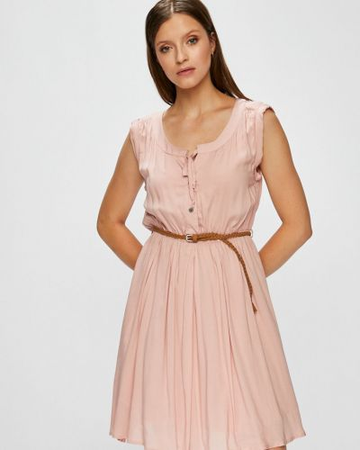 Розовое платье мини с вырезом на пуговицах Fresh Made