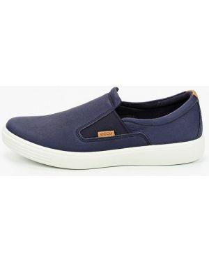 Мокасины синий кожаные Ecco