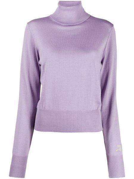 Шерстяной малиновый вязаный свитер с длинными рукавами Courrèges