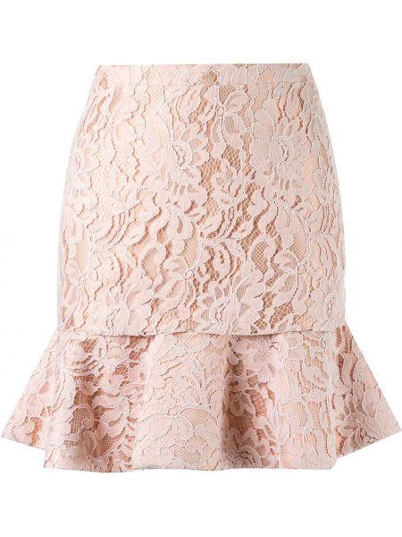 Ажурная розовая юбка на молнии с оборками Martha Medeiros