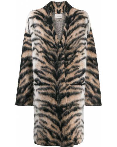 Коралловое шерстяное длинное пальто с воротником Laneus