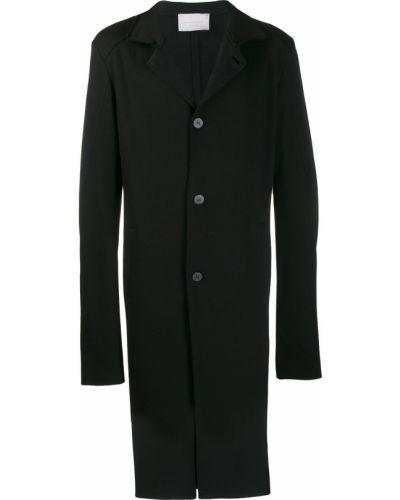 Черное приталенное однобортное длинное пальто на молнии 10sei0otto