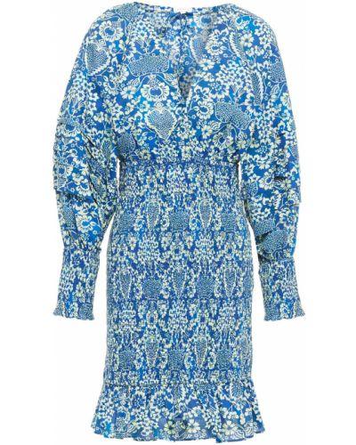 Niebieska sukienka mini bawełniana z printem Rhode