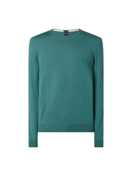 Sweter wełniany - turkusowy Boss