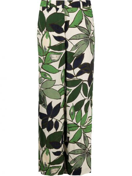 Зеленые с завышенной талией брюки из вискозы Luisa Cerano